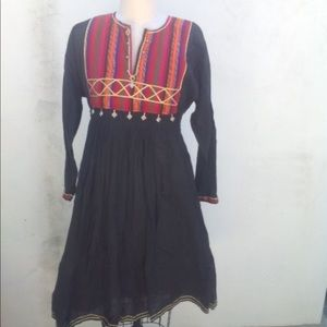 Vintage Indian cotton embroidered dress